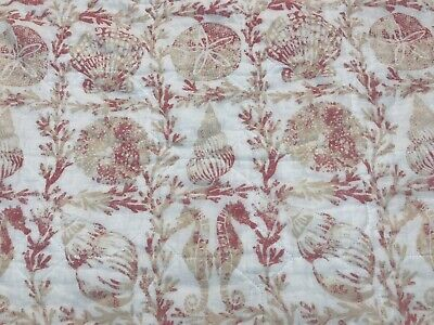 Laura Ashley Quilted Pillow Sham standard beach shells Coral Pink White