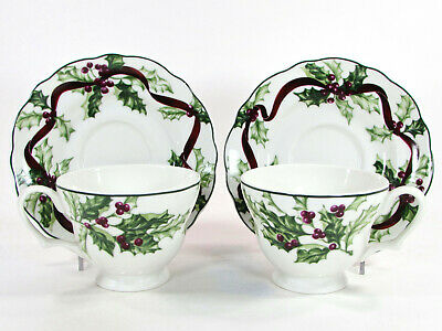 Charter Club WINTER GARLAND 12oz Cup & Saucer Porcelain Red Ribbon Green Holly