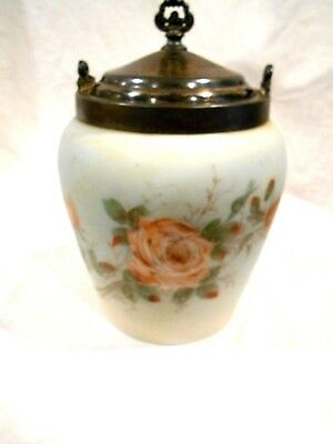 Vintage Case Glass Biscuit Jar w/Silver Plate Lid & Collar