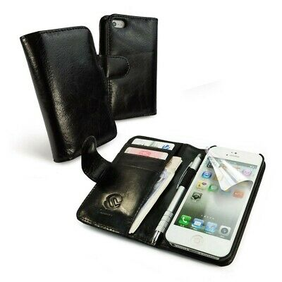 TUFF LUV Personalised Leather Wallet-Style Case for iPhone 5 / 5S / SE-Black