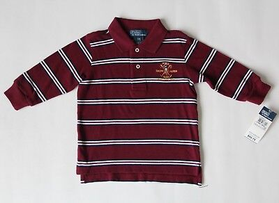 Nwt Ralph Lauren Polo Baby Boys 12M Striped Long Sleeve Polo Top Burgundy