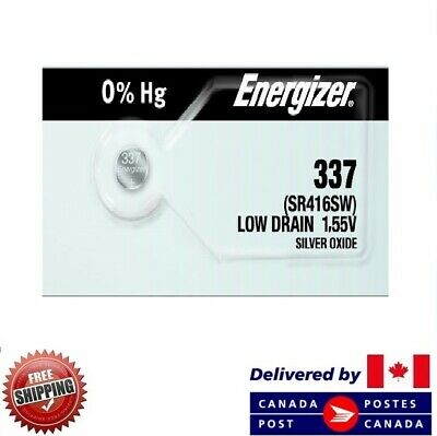 1 PC ENERGIZER 337 Watch Batteries 0% MERCURY SR416SW 337 CDN SELLER
