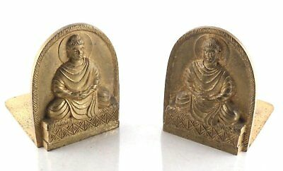 Antique TIFFANY STUDIOS New York Solid Bronze Buddha Bookends - LCT 1025