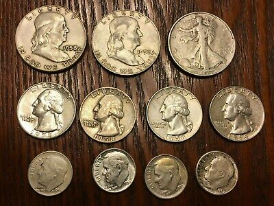 $2.90 Face Value 90% Silver Us Coins, 11 coins