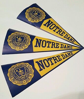 Vintage lot of 3 Notre Dame Irish 8-inch paper Pennant style stick-ons, football
