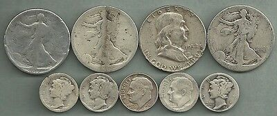 $2.50 Face Value Mixed CULLS - 90% Silver - US Coin Lot - 9 Coins #3179