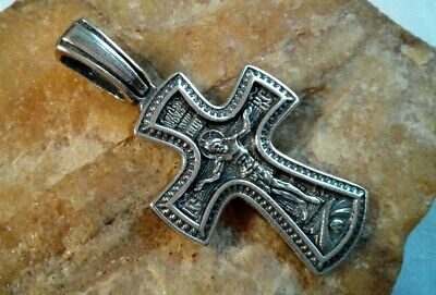 "Sterling Silver ""925"" Orthodox Crucifix Mother Of God Of The Sign Great Panagia"