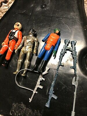 Vintage Star Wars Lot Weapons And 3 Figures