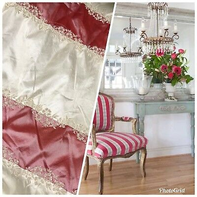 SALE! 100% Silk Taffeta Fabric Embroidery Stripe Floral- Muted Red + Ivory