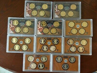 Complete Proof Set of US Presidential Dollar Coins 2007 - 2016