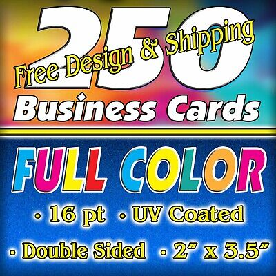 250 16pt. High Gloss FC Business Cards - Double Sided - FREE Design/Ship $18.50