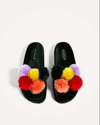 565dbd5b11e ZARA VELVET BLACK Pom Pom Slip On Shoes Sandals Faux Fur Slides 40 9 ...