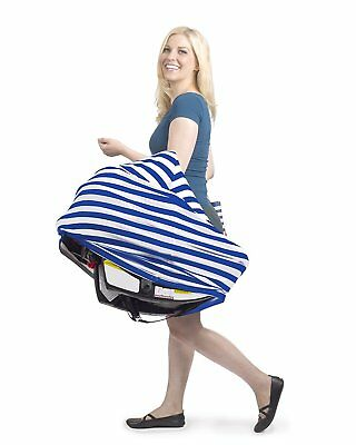 Nursing Cover Infinity Scarf Car Seat Cover Carseat Canopy (blue white stripes)