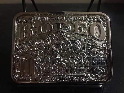 2015 Hesston Silver Adult Belt Buckle National Finals Rodeo Very Sharp!!!