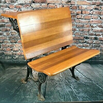 Late 1800s Antique Cast Iron + Wood School Folding Student Desk Chair Buffalo NY