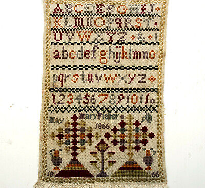 ANTIQUE SCOTTISH EMBROIDERY BAND SAMPLER MARY FISHER 9th MAY 1866