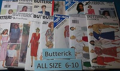 A Butterick  All Patterns are Size 6-10 (6,8,10) 32+ Listed ~ U-PICK ~ #6544 NIP