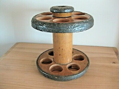 Wooden Mill Bobbin Egg Holder and Timer -- Made from Vintage Reclaimed Items.