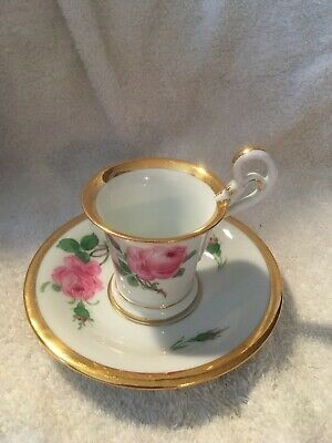 Antique Meissen or Dresden Cup and Saucer w Pink Roses Heavy Gold Crossed Swords