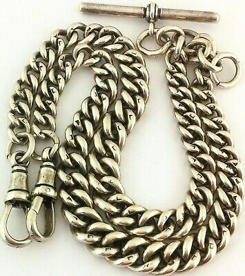 Long Antique Hallmarked Solid Silver Double Albert Pocket Watch Chain 16.7 Inch