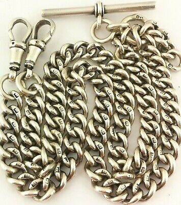 LONG ANTIQUE SOLID SILVER DOUBLE ALBERT POCKET WATCH CHAIN 17.5 INCH c1901