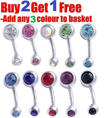 Belly Bar Surgical Steel Double Crystal Gem Navel Bar Button Ring Belly Bars NEW