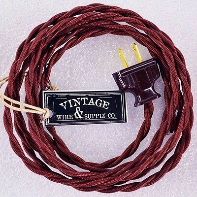 Burnt Copper Cordset - 8ft - Cloth Covered Twisted Wire Vintage Rewire Lamp Fan