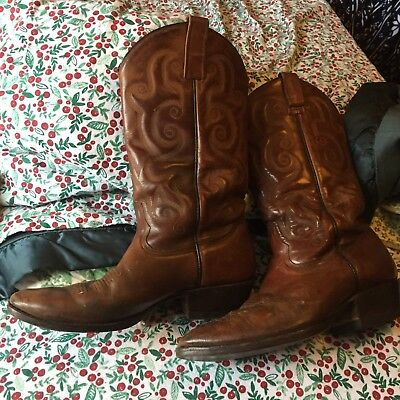 434a1c4f700 VINTAGE RUDEL WESTERN Cowboy Brown Leather Boots Men's size 10.5 EE Mexico
