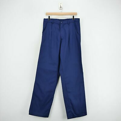 Vintage Workwear Deadstock Blue French Style Work Utility Trousers 32 W 32 L