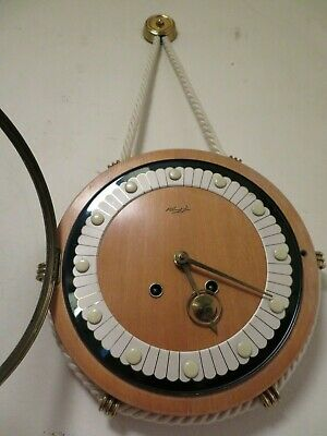 Vintage Retro 1950s Quality KIENZLE Wall Clock Rare Rope Hung Chiming