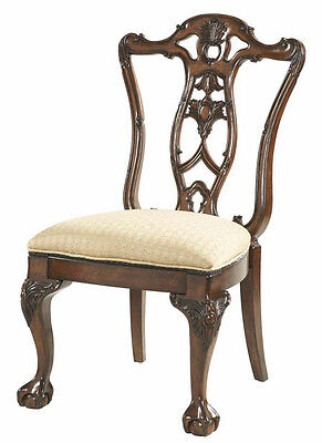 Pair of 2 Carved Heritage Red Mahogany Wood Dining Side Chairs - Chippendale
