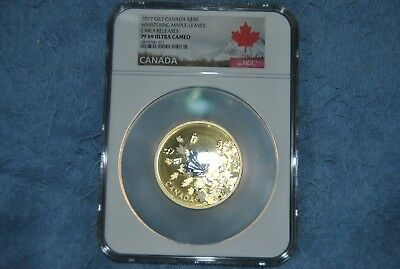 2017 Canada Gilt Silver $50 3 Oz Whispering Maple Leaves NGC PF69 ER With OGP