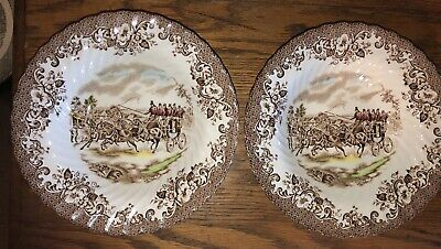 """Johnson Brothers LOT 2 Soup Bowls """"COACHING SCENES""""  Brown/ multicolor poly RAR"""