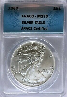 1986 American Silver Eagle, ANACS MS 70, Scarce Date, 1st Year of Issue