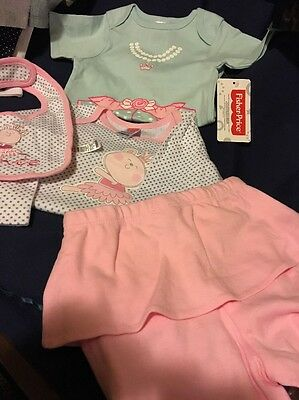Soft Girls 4 piece Outfit Pink Seafoam & White Fisher Price Brand 6/9 mos