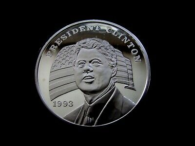 1993 16 Troy oz GIANT .999 PURE Silver PROOF BILL CLINTON Coin Round (Spot)