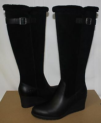 659eab48929 UGG BOOTS UGGS Mischa Tall Leather Waterproof Shearling Wedge Stout ...