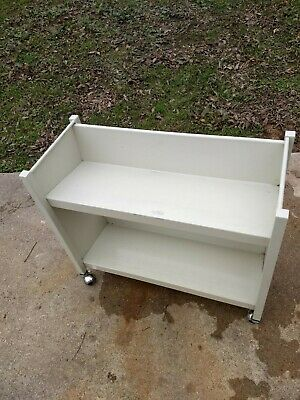 BRETFORD BOOK TRUCK Library Cart, 4 Sloping Shelves, Double