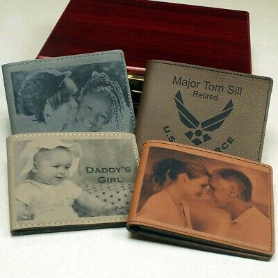 Personalized Bi-fold Wallet In Tan Or Brown Leatherette Engraved FREE!