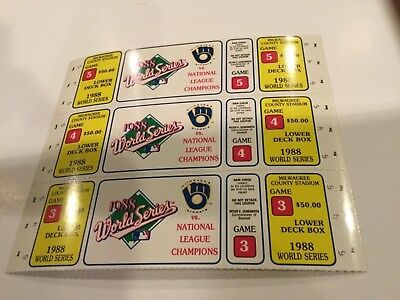 1988 Phantom World Series ticket sheet Milwaukee Brewers