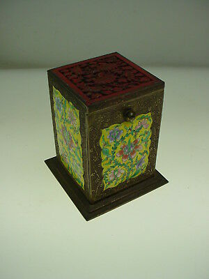 Vintage Chinese Yellow Cloisonne Enamel Tea Box W Cinnabar Top Canton Enamel Box