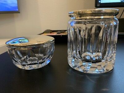 Two Vintage Plata Lappas Thick Cut Crystal Silver Plated Vanity Jars Argentina
