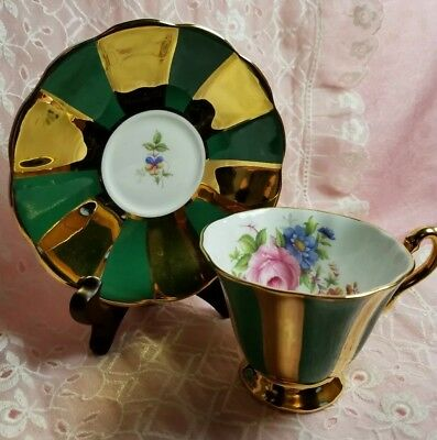 Beautiful vintage Rosina Tea cup & Saucer made in England  Green with gold gilt