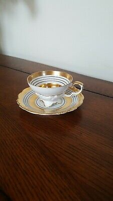 Vintage Edelstein Bavaria Demitasse Tea Cup And Saucer Gold And White