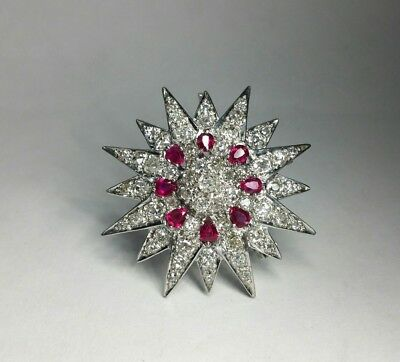 c2a604510 Edwardian 4.0ct Natural Ruby 9.5ct Rose-Cut Diamonds 18k Gold Brooch Pendant