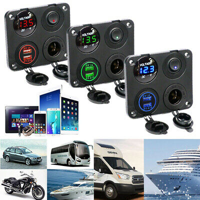 12V-24V Car Marine Boat Universal LED Switch Panel ON/OFF Dual USB Voltmeter RED