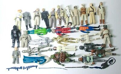 Vintage Star Wars Beater Lot Of Figures With Weapons Accessories