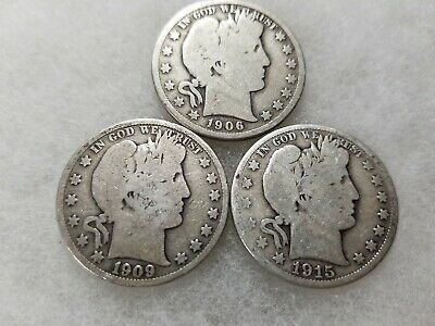 Lot of 3 BARBER HALF DOLLARS 90% SILVER (1906-D 1909-P 1915-D)