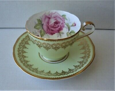 Anysley Bone Chine Light Green And Gold Design W/rose Tea Cup & Saucer Set