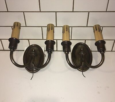 Wired Pair Dark Brass Two Arm Wall Light Fixtures Sconces Great! 24D